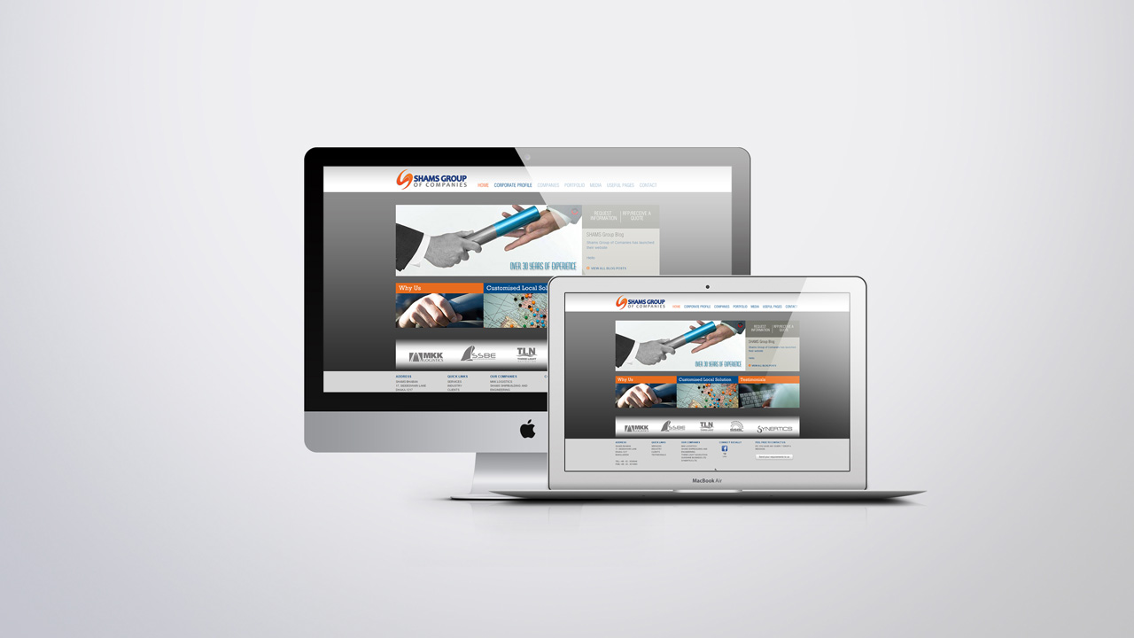 Corporate website for Shams Group